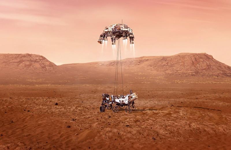 «Семь минут ужаса»: видео спуска Perseverance на поверхность Марса