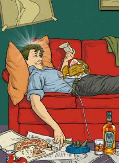 Ученые доказали, что лежать на диване, ругаться и есть жирное— полезно, а убираться в доме и часто мыться— вредно
