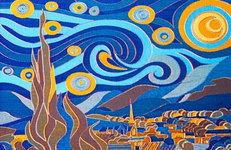 «Звездную ночь» Ван Гога нарисовали лазерной кистью на титановом холсте
