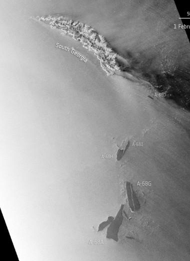 Гигантский айсберг проплыл мимо острова Южная Георгия и стремительно распадается