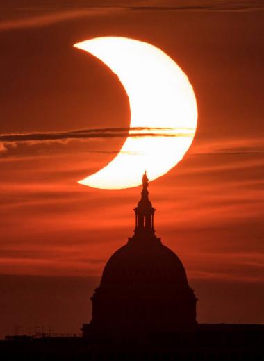 Как прошло кольцеобразное солнечное затмение: фото и видео