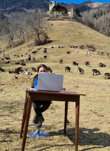Дистанционка с козами: школьница из Италии обучается удаленно на альпийском пастбище