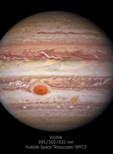 NASA показало Юпитер в трёх разных cветовых диапазонах