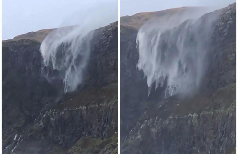 Шотландский водопад течёт вверх