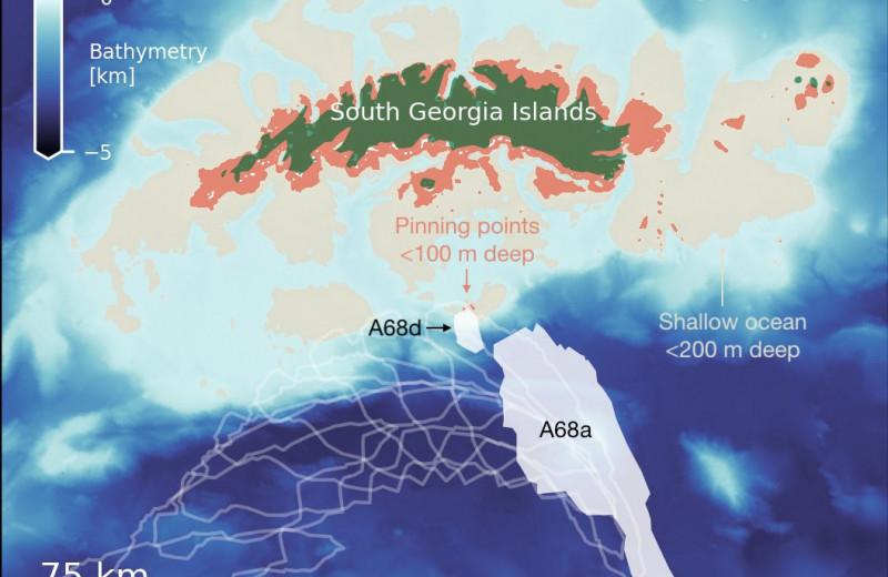 Гигантский айсберг, движущийся к острову Южная Георгия, раскололся