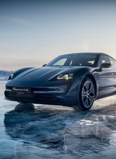 Тест-драйв электрокара Porsche Taycan на Байкале