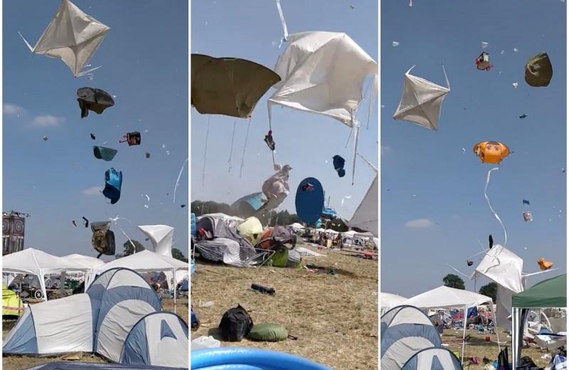Вихрь поднял в воздух палаточный лагерь: видео