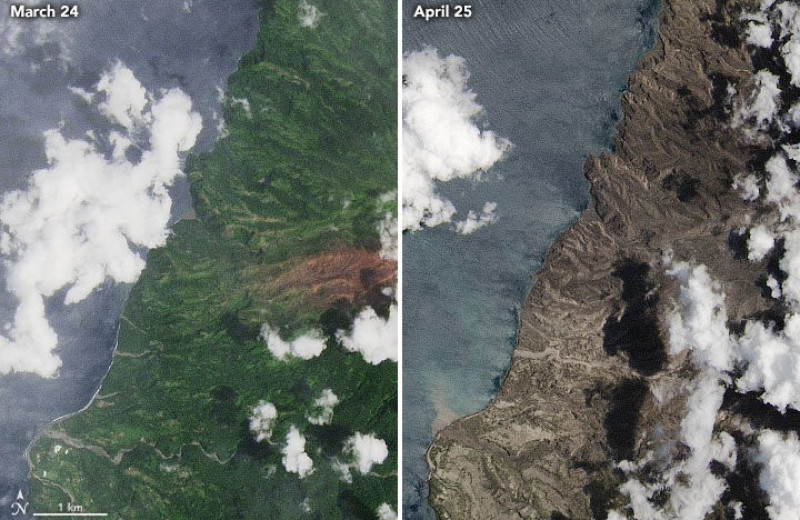 Вулканический пепел засыпал остров: фото NASA