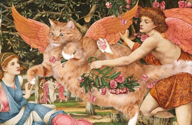 Хозяйка поместила своего рыжего кота наизвестные картины:онкак будто всегда там был