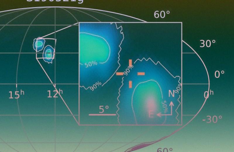 Световая вспышка сопроводила гравитационные волны от вероятного слияния черных дыр