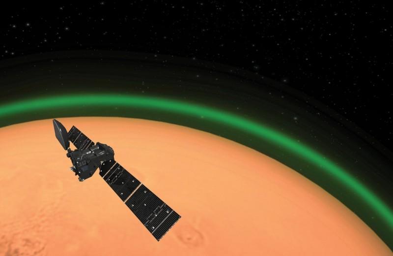 В атмосфере Марса обнаружили зеленое свечение