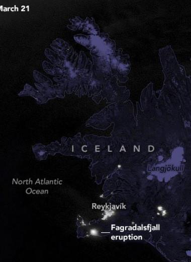 Как выглядит извержение вулкана в Исландии: видео с орбиты