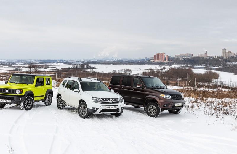 Renault Duster, Suzuki Jimny, UAZ Patriot: кто кого?