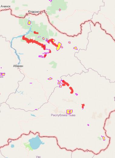 Загрязнения рек Сибири от добычи россыпного золота: карта