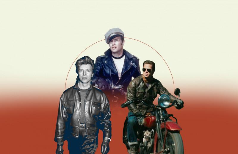 Мудборд: как носить кожаные куртки — берем пример с Дэвида Боуи, Марлона Брандо и Брэда Питта