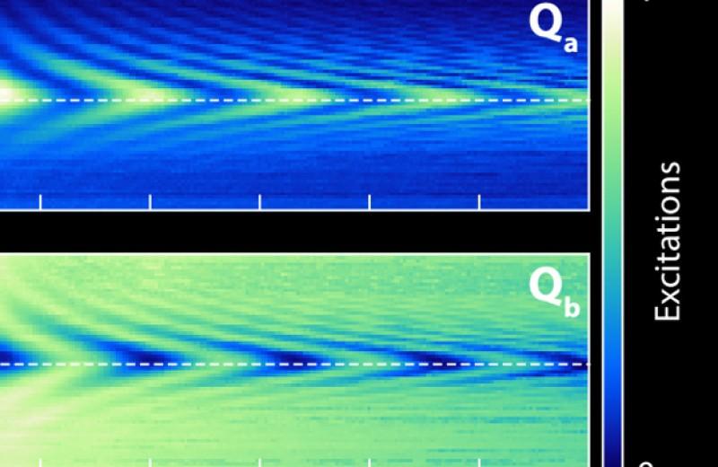 Гигантские искусственные атомы обменялись возбуждениями через волновод