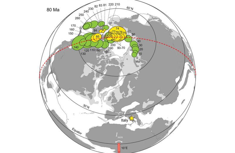 84 миллиона лет назад Земля опрокинулась набок из-за смещения полюсов