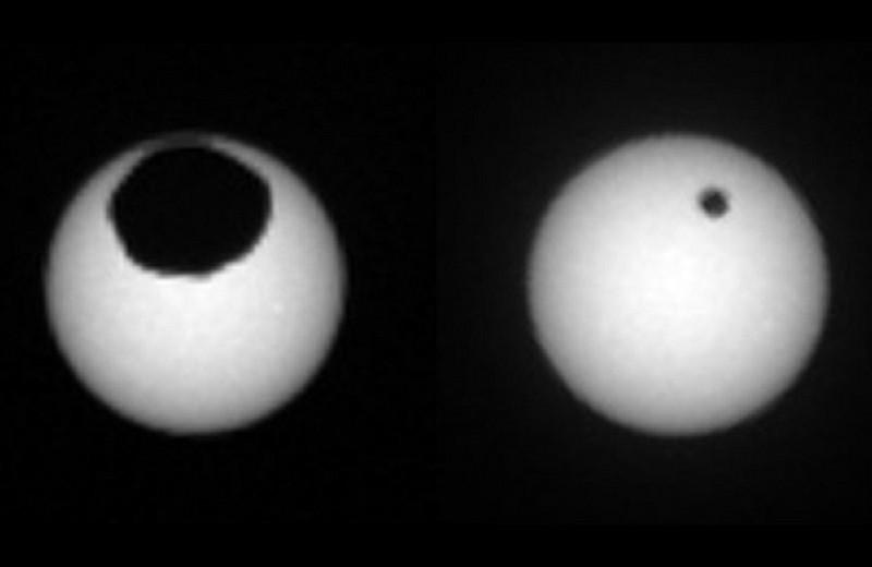 Как выглядят солнечные затмения на Марсе?