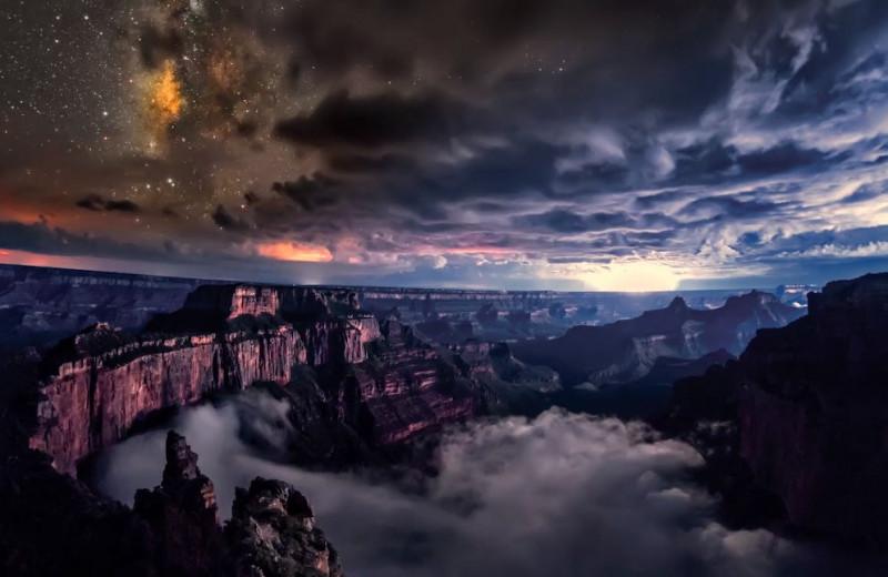 Инверсионная облачность в Гранд-Каньоне: видео