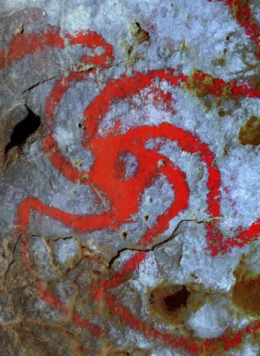 Индейцы пожевали галлюциногенного дурмана и нарисовали его цветок в пещере