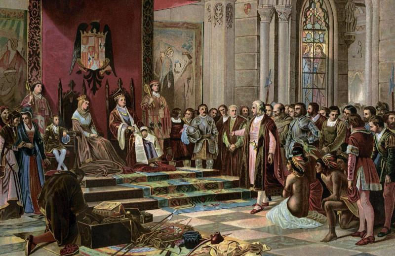 Приём Колумба по его возвращении из первого путешествия Их Католическими Высочествами в Барселоне