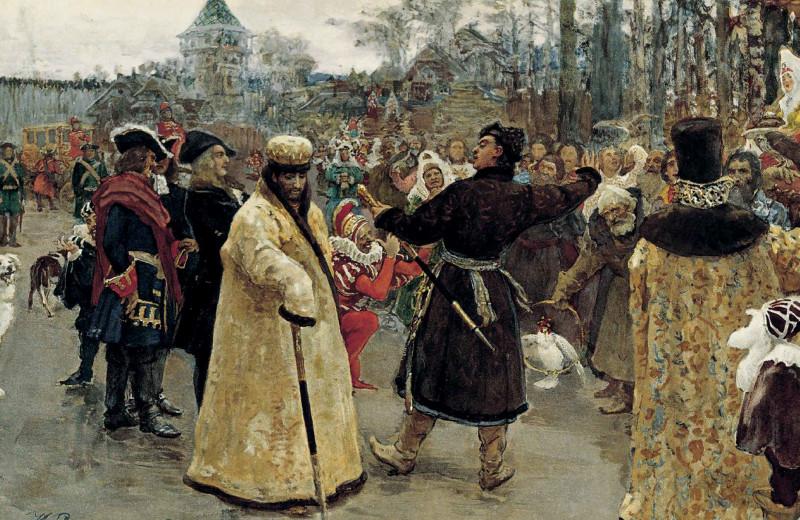 Приезд царей Иоанна и Петра Алексеевичей на Семёновский потешный двор всопровождении свиты